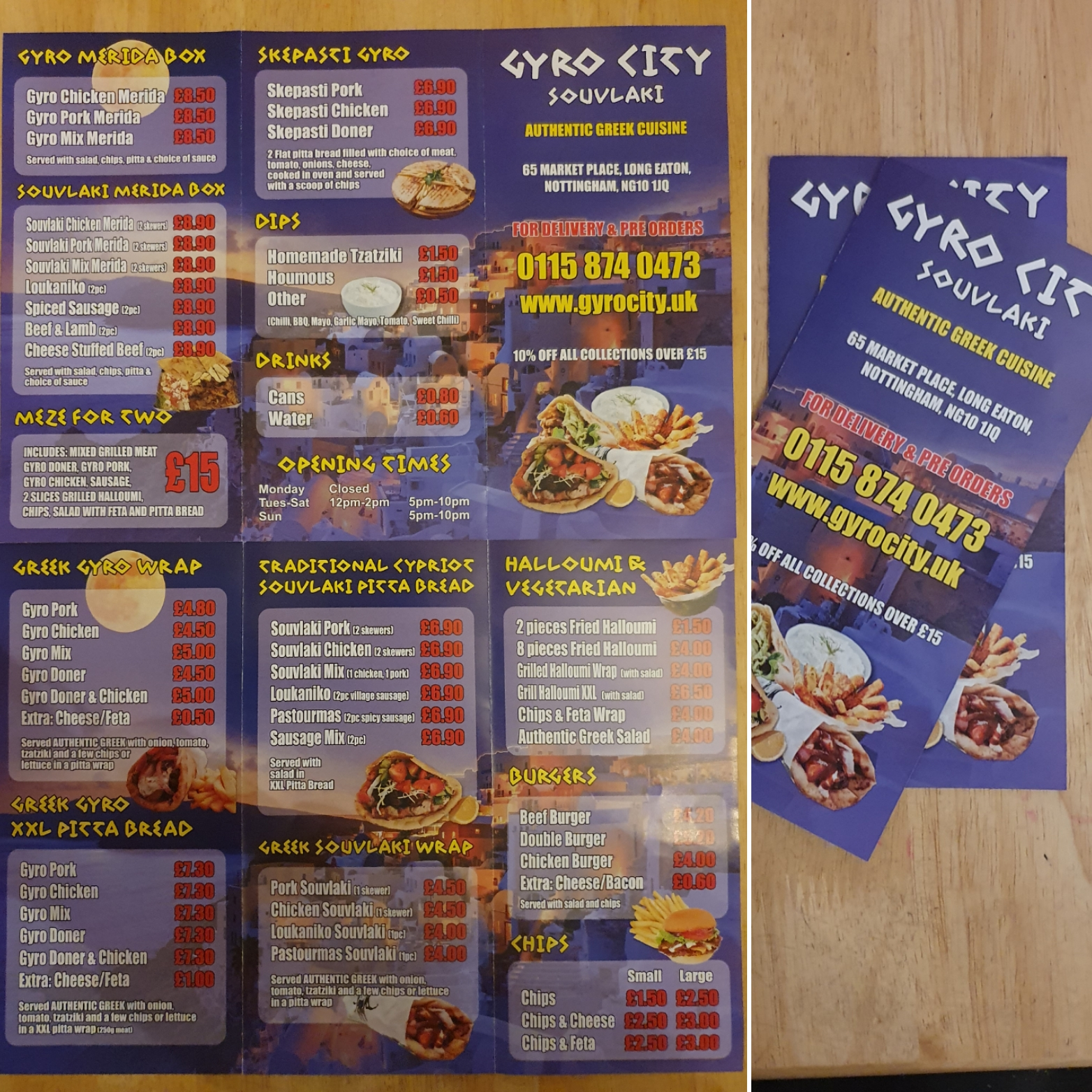 Gyro City Menu Design & Print